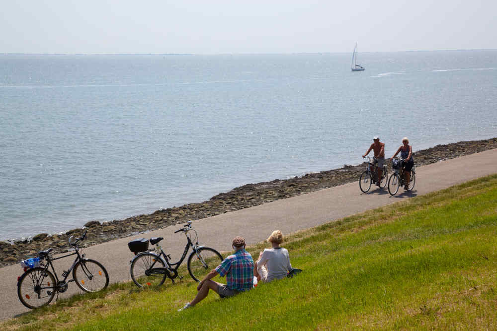 Waddenzeedijk, fietsen