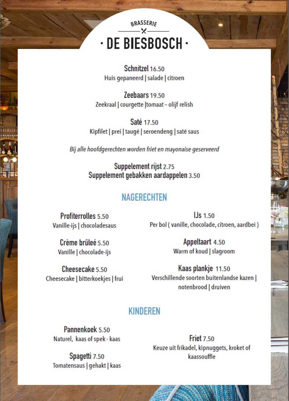 Menu Brasserie De Biesbosch