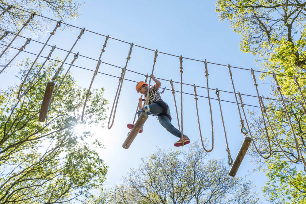 Go on an adventure in the climbing forest at Villapark de Weerribben