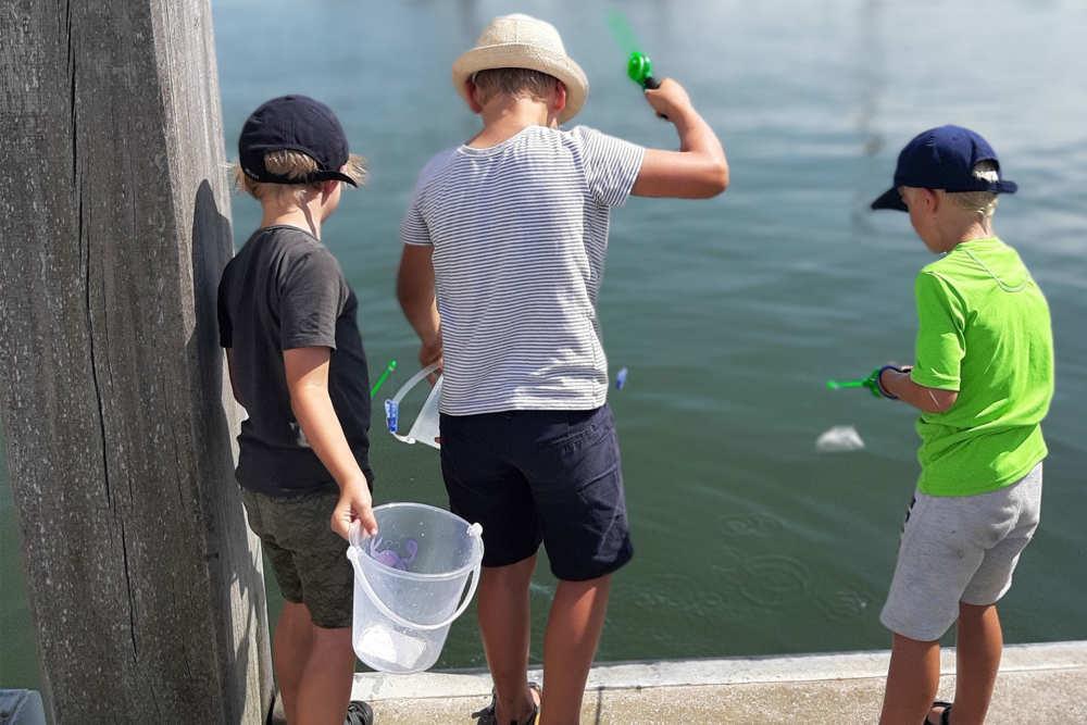Kinderen aan het krabben vissen