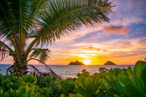 sunset lanikai beach oahu Hawaii