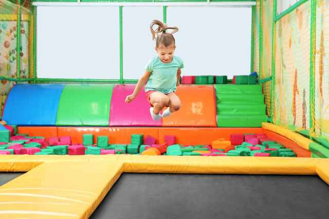 Indoor playground trampoline