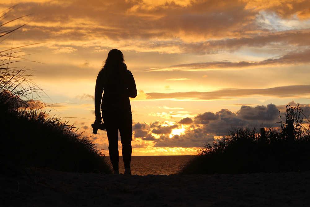 Duin, zonsondergang