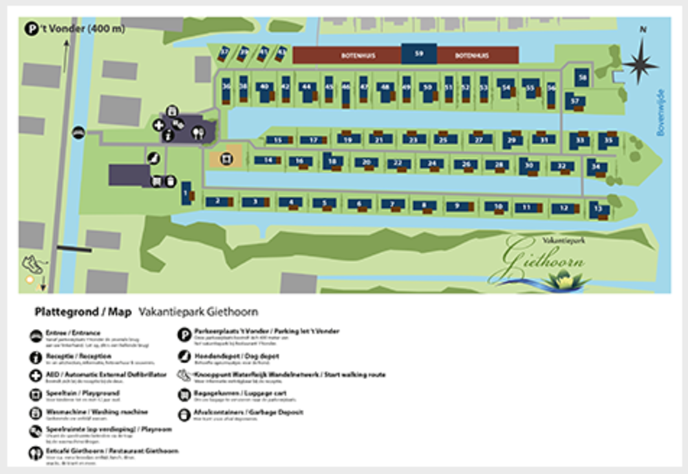 Sehen und buchen Sie Ihr Zuhause auf der Karte des Holiday Park Giethoorn